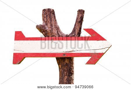 Austria flag wooden sign isolated on white background