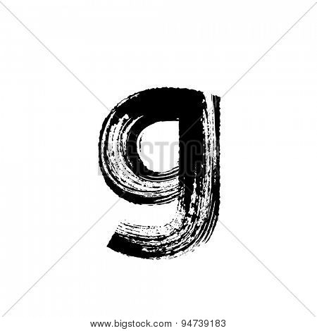 Vector hand paint letter g. Hand drawn letter with dry brush. Lower case