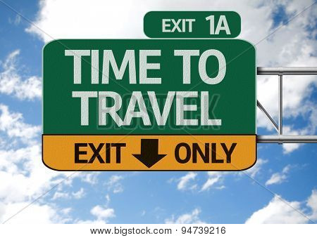 Time To Travel road sign with sky background
