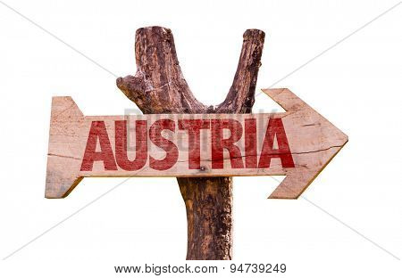 Austria wooden sign isolated on white background