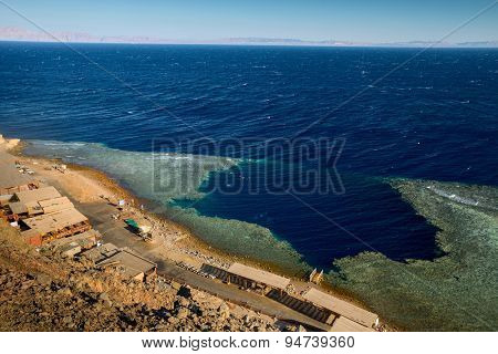 Red Sea coastline with famous diving destination - Blue Hole. Egypt