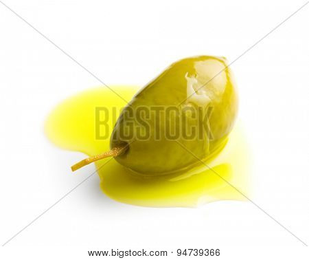 the green olive and olive oil
