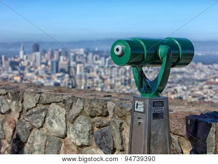San Francisco city view from Twin Peaks with telescope