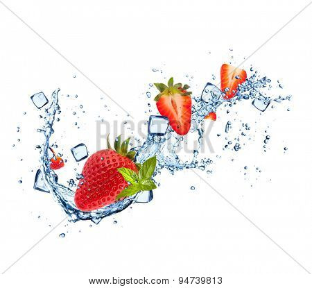 Strawberries in water splashes and ice cubes isolated on white background
