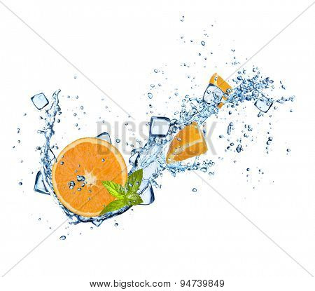 Oranges slices in water splashes and ice cubes isolated on white background