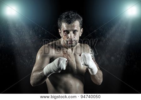 Portrait of boxer in blood
