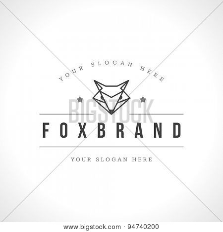 Vintage Fox face Line art logotype emblem symbol. Can be used for labels, badges, stickers, logos vector illustration.