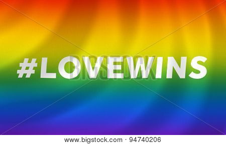 Gay rainbow equality flag with hashtag #lovewins