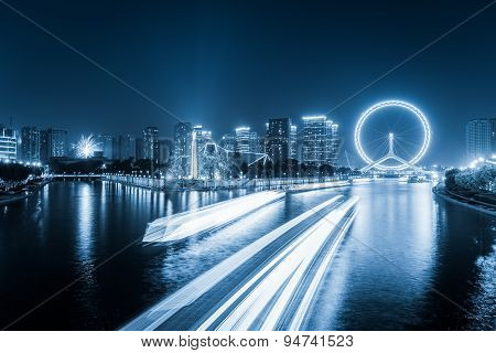Tianjin Haihe River At Night