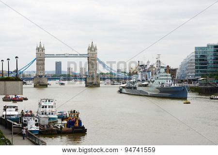 LONDON, UK - JUNE 23: Tower Bridge over river Thames seen from London Bridge. June 23, 2015 in London.