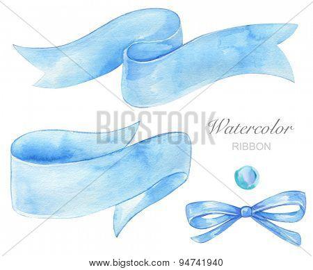 Set of blue watercolor ribbon