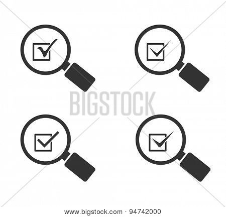 magnifying glass icon with check mark symbol