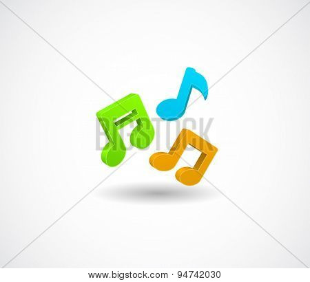 colored music notes 3d icon