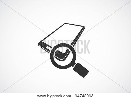 smart phone 3d black icon with magnifying glass - search concept
