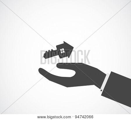 hand gives key house shape - conceptual background