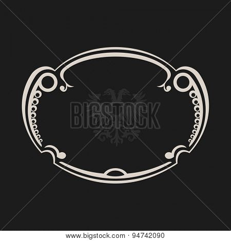 vintage retro frame. Abstract black background. Vector illustration