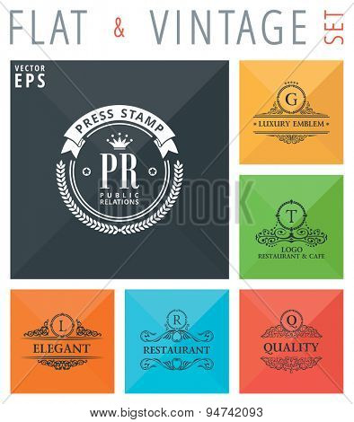 Vector flat and vintage elements icons collection with long shadow effect in stylish colors of web design objects. Luxury logo calligraphic elegant decor with ornament