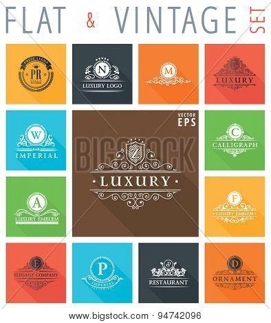 Vector vintage flat elements icons collection with long shadow effect in stylish colors of web design objects. Luxury logo calligraphic elegant decor with ornament