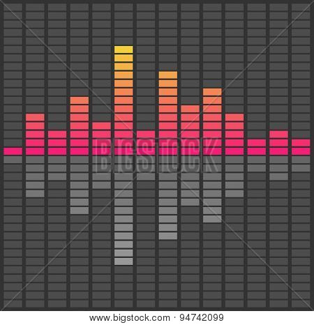 Abstract sound waves equalizer. Audio pulse music. Vector illustration black and white