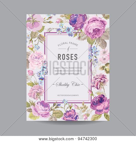 Vintage Floral Frame - for Invitation, Wedding, Baby Shower Card - in vector