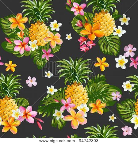 Pineapples and Tropical Flowers Background -Vintage Seamless Pattern - in vector