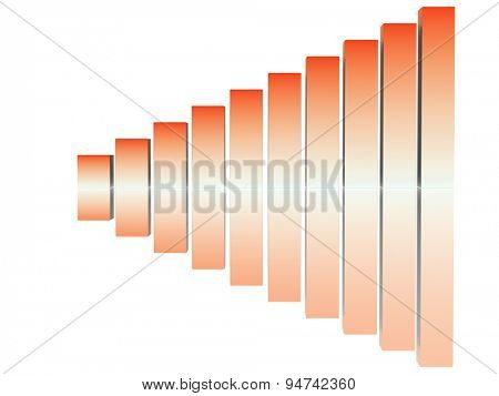 chart success of the orange and white cubes on a white background. 3d