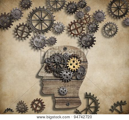 Brain mental activity, psychology, invention and idea concept