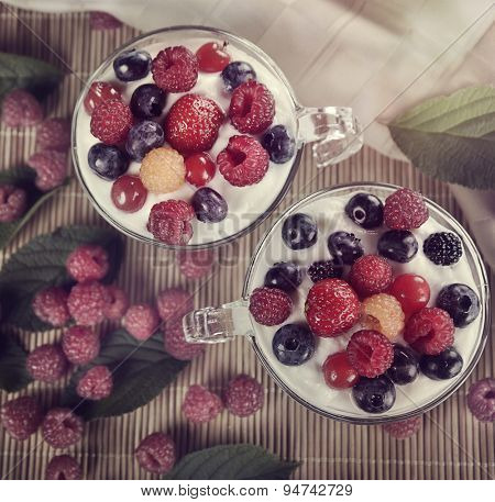 Two Cups Of Yogurt With Berries,top view