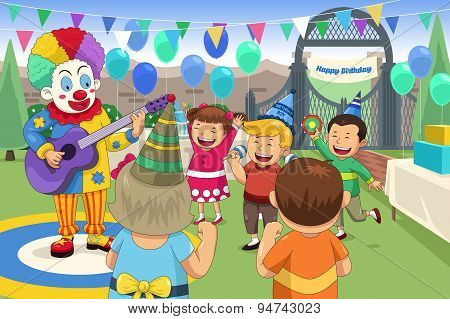 Clown At A Kids Birthday Party