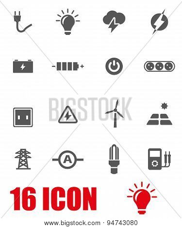 Vector grey electricity icon set