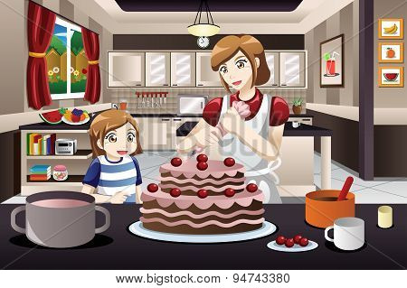 Mother Daughter Decorating A Cake