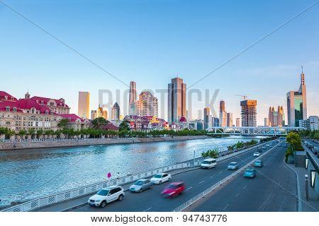Tianjin Haihe River At Dusk
