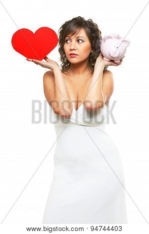 Young Woman Chosing Between Love And Money