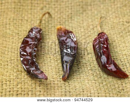 Dried chili on sack cloth