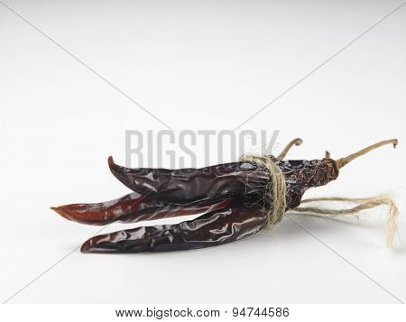 bunch of the dried chilli on white background