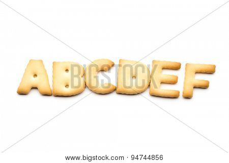 Letter ABCDEF biscuit isolated on white background