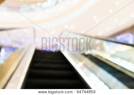 Escalator blur background with bokeh light.
