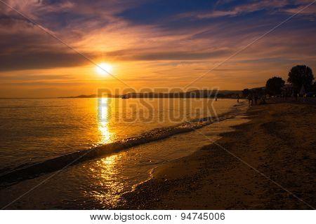 Sunset over the beach in Nikiti