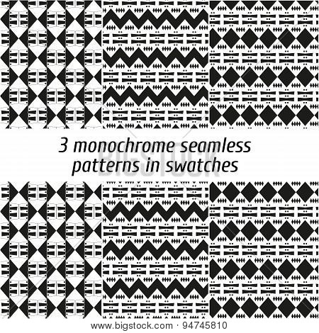 Set of 3 monochrome seamless patterns in swatches