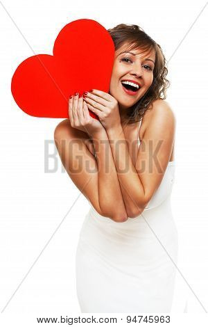 Young Woman Holding Red Paper Heart