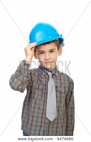 Cute Kid Holding Helmet