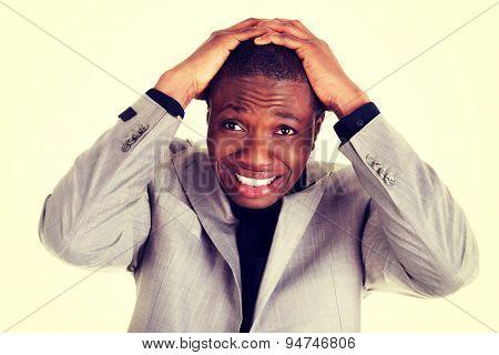 Black handsome man's shock reaction