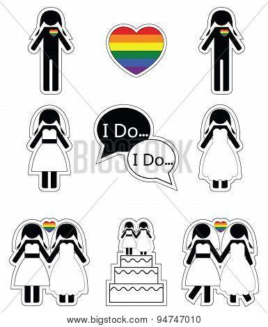 Gay woman wedding 1 with rainbow element