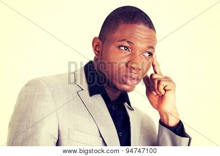Attractive african man serious face