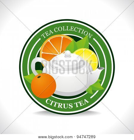 Citrus tea label with white teapot