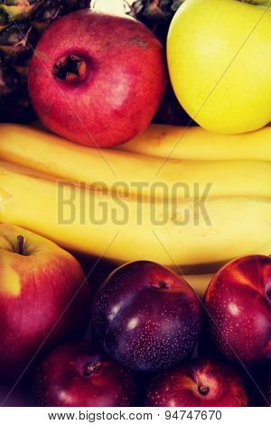 Group of fresh healthy fruits