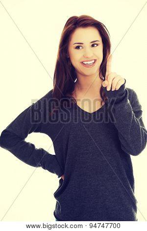 Happy woman getting an idea