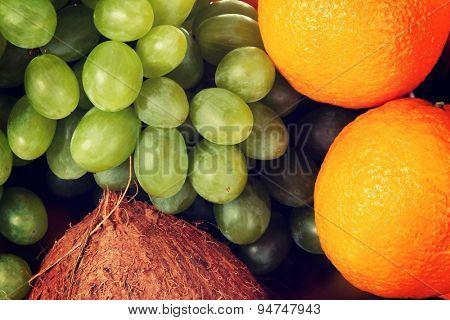 Group of fresh tasty fruits