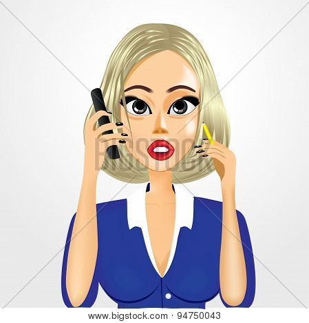 cartoon realistic secretary talking on the phone