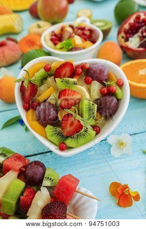 Diet, healthy fruit salad, fruit skewer - summer party